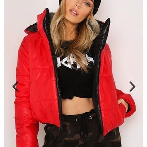 Jackets & Blazers - Red / black reservable hooded puffer jacket